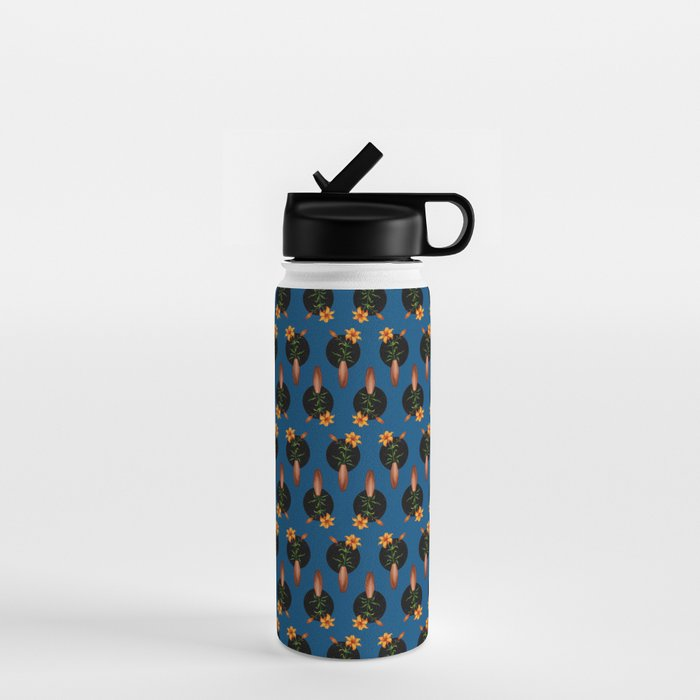tiger lilies blue water bottle