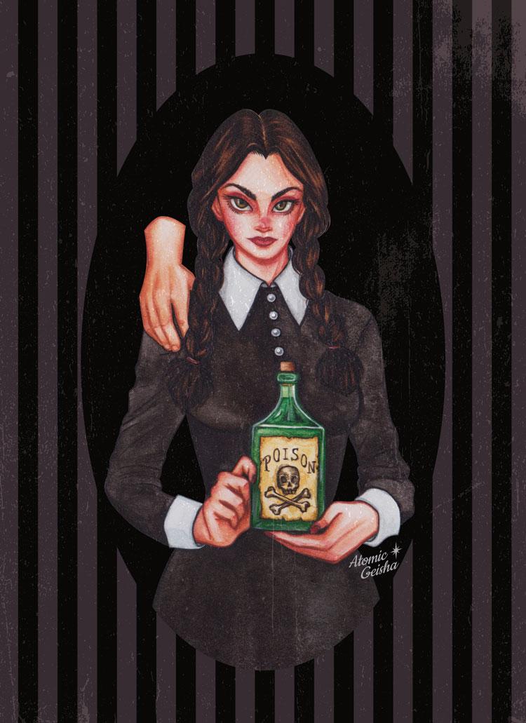 Wedbesday Addams art print card