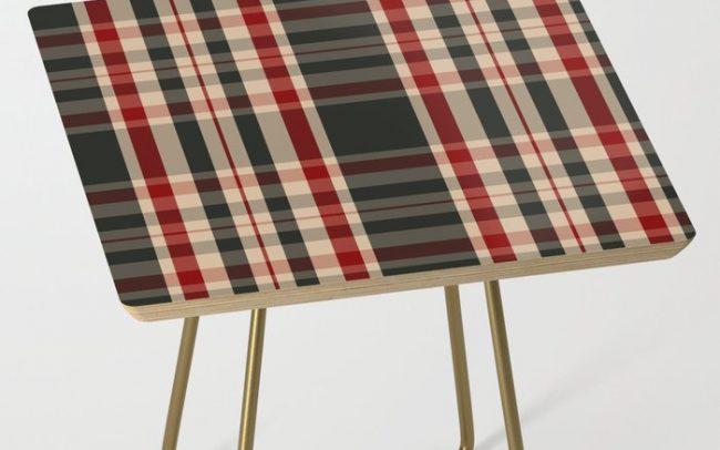 union jack tartan plaid side table