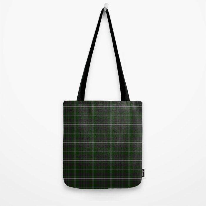 green plaid tote bag