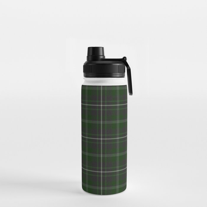 green plaid water bottle