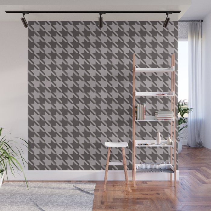 gray houndstooth wall mural