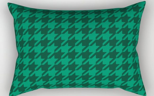 green on green houndstooth pillow