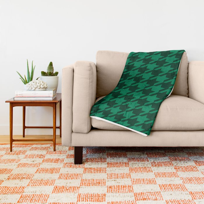 green on green houndstooth blanket