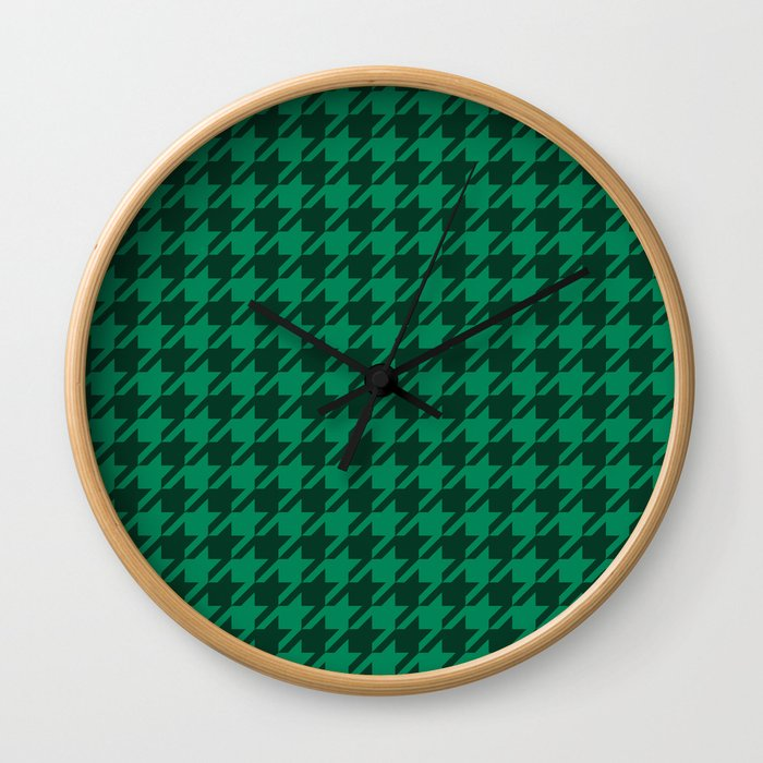 green on green houndstooth clock round