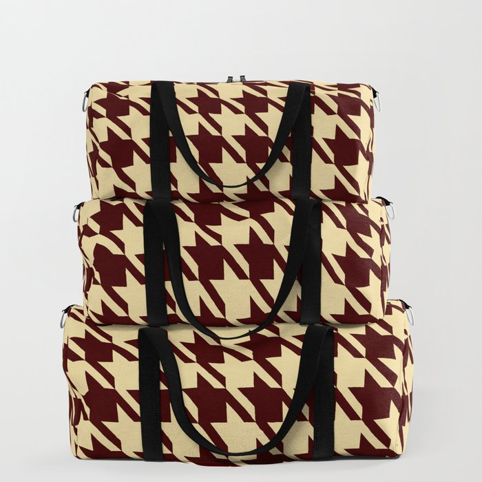 burgundy tan houndstooth bags travel
