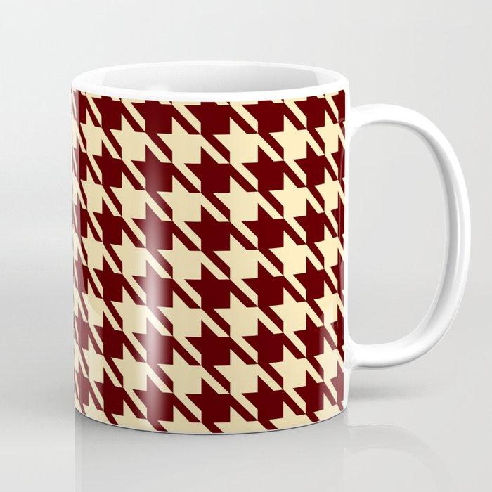 burgundy tan houndstooth mug coffee tea