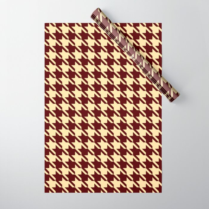 burgundy tan houndstooth wrapping paper