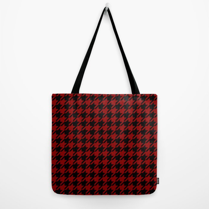 red black houndstooth tote bag