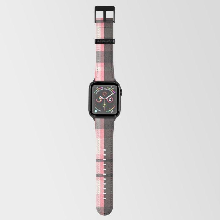 pink grey plaid apple watch strap