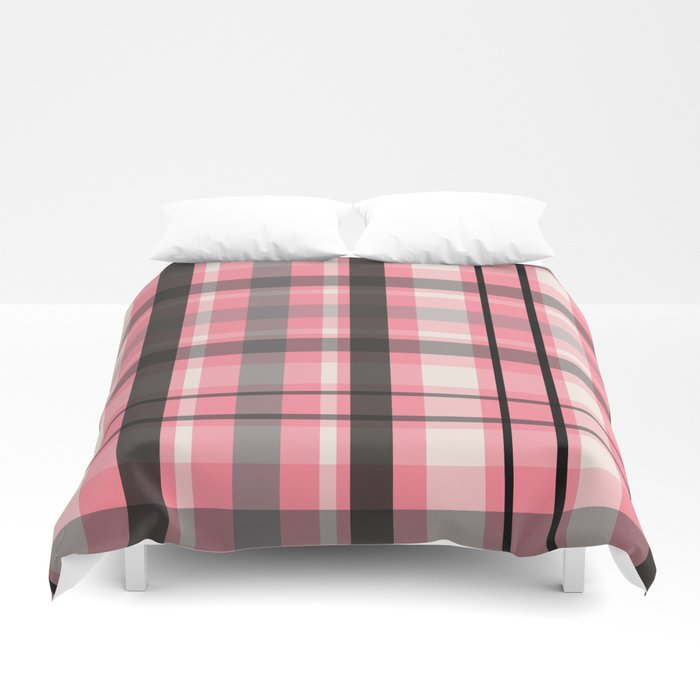pink grey plaid bed sheets duvet covers