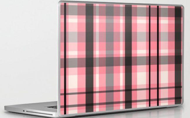 pink grey plaid laptop skin sticker