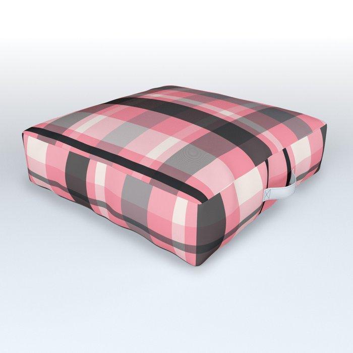 pink grey plaid floor pillow