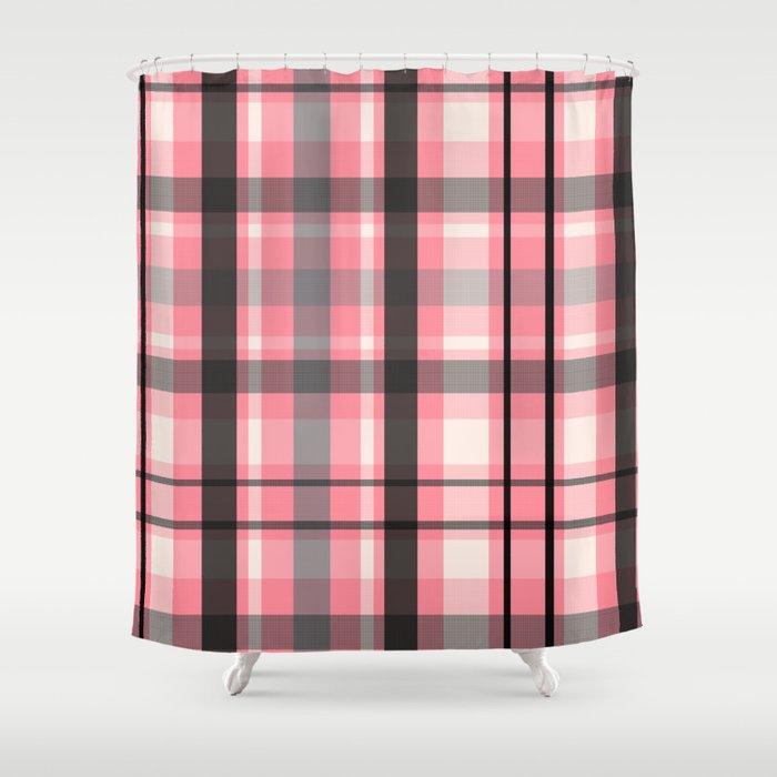 pink grey plaid shower curtain