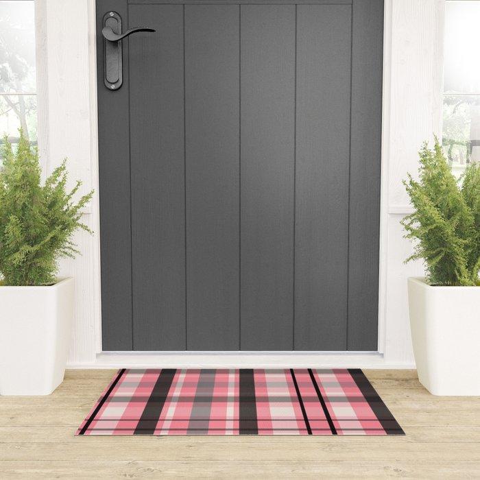 pink grey plaid welcome matt