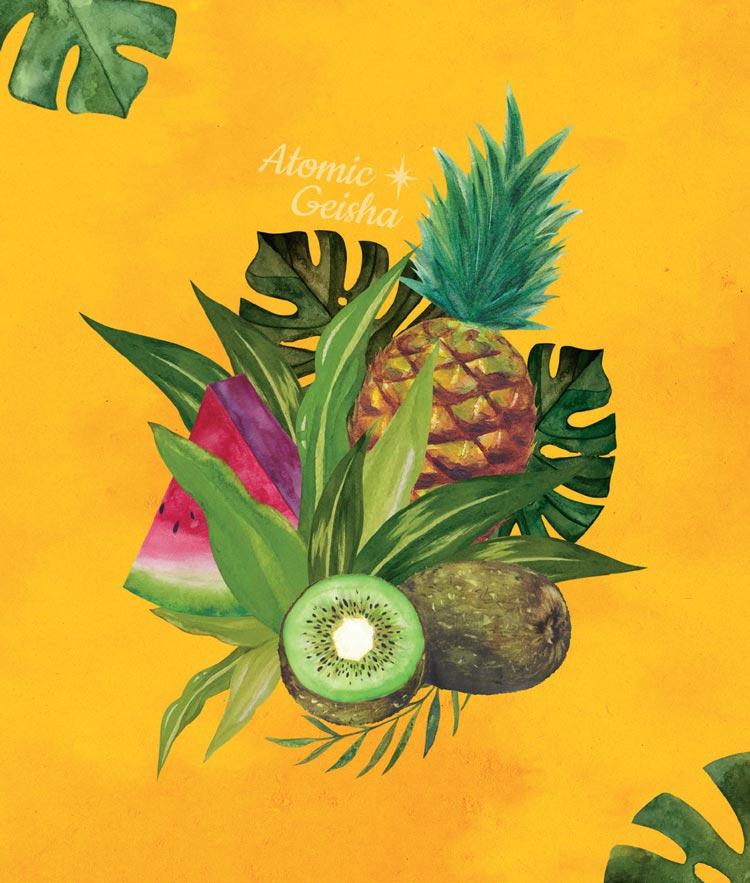 ananas monsteras watercolor atomic geisha