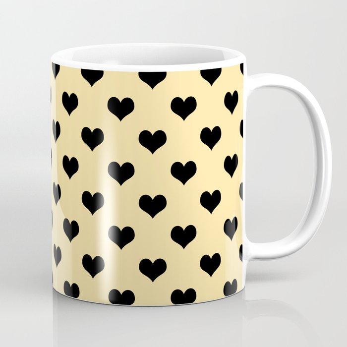 Black hearts cream mug coffee tea