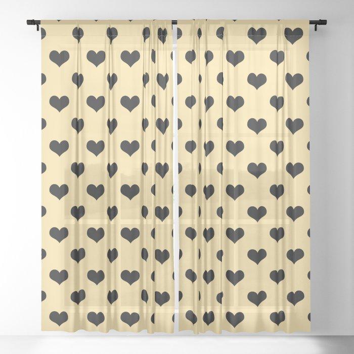 Black hearts cream curtain