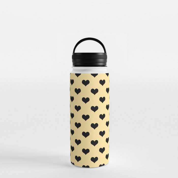 Black hearts cream water bottle