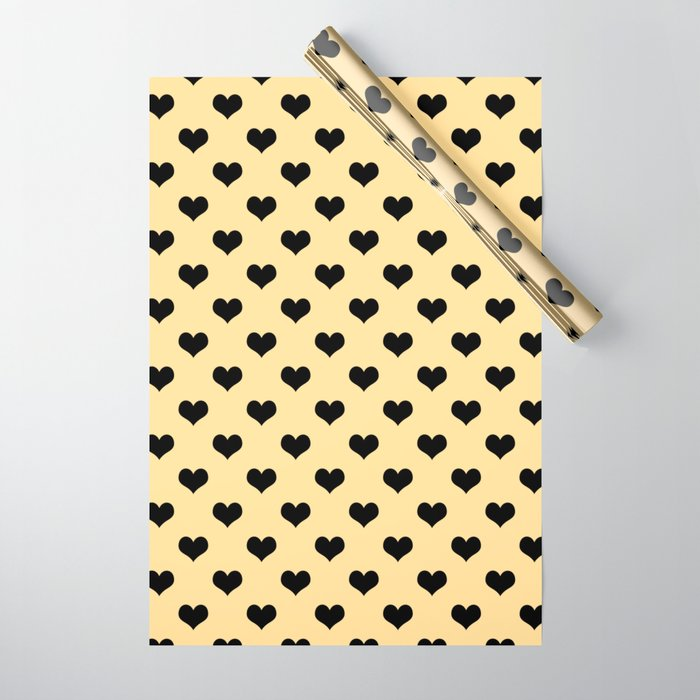 Black hearts cream wrapping paper