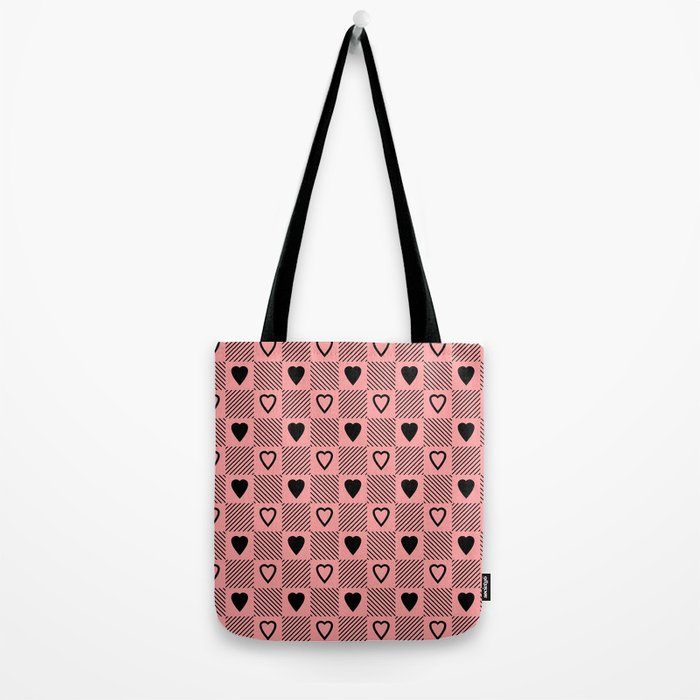 black hearts stripes pink bag