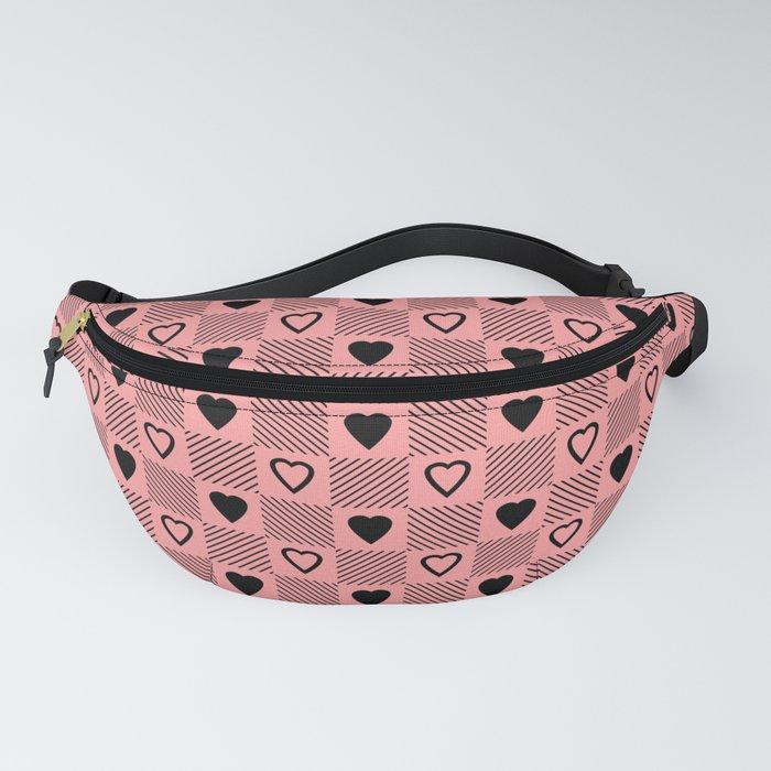 black hearts stripes pink fanny pack