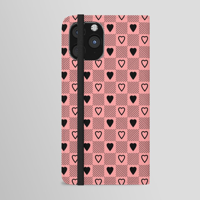 black hearts stripes pink phone case