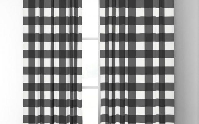 black white plaid curtains