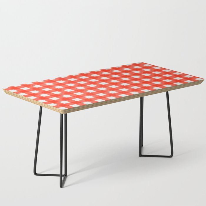 red and white gingham coffee table