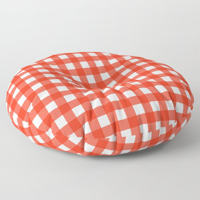 red and white gingham floor pillow