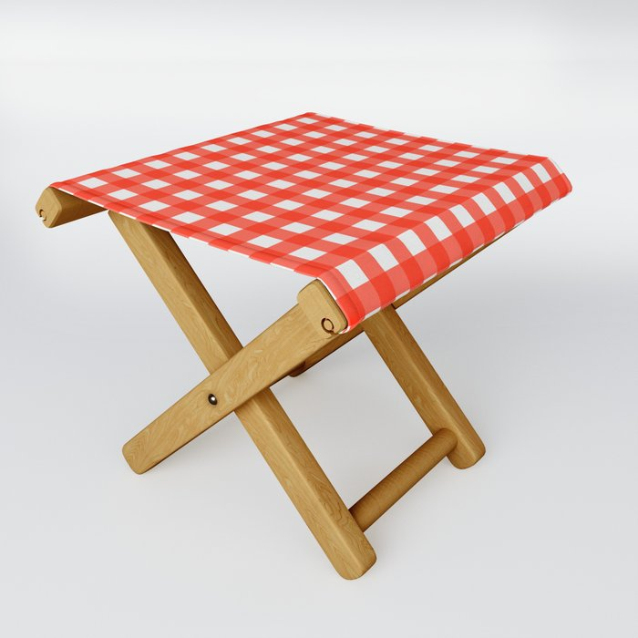 red and white gingham folding stool