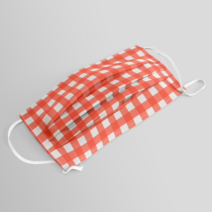 red and white gingham face mask