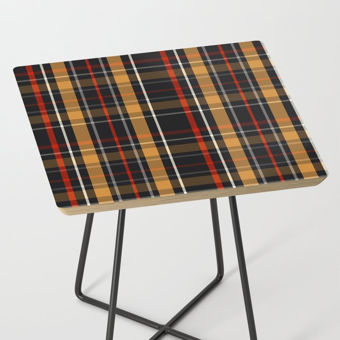 side table plaid tartan red beige