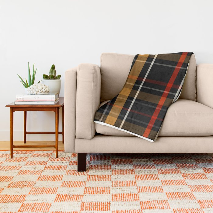 blanket Grey Beige Red Plaid Tartan