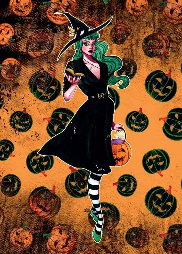 green witch pumpkin background a6 postcard