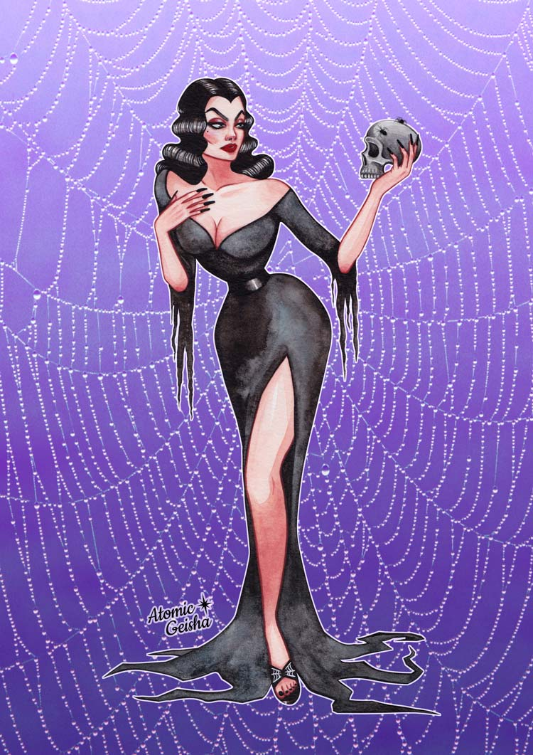 Vampira spiderweb watercolor atimic geisha monster