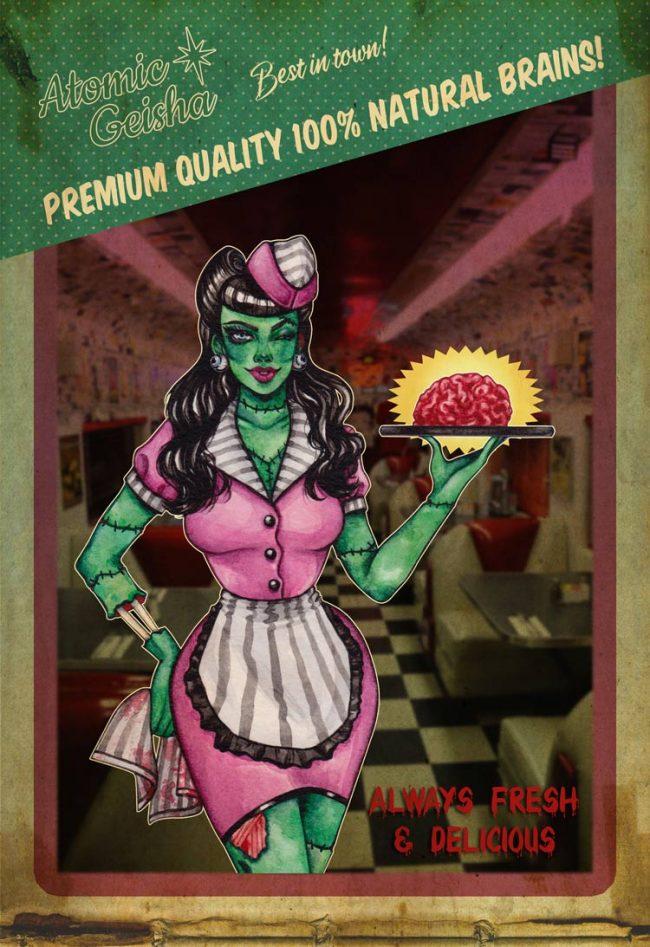 Diner zombie fifties 50s art illustration