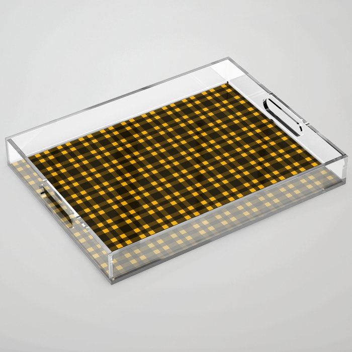 Black mustard plaid tray