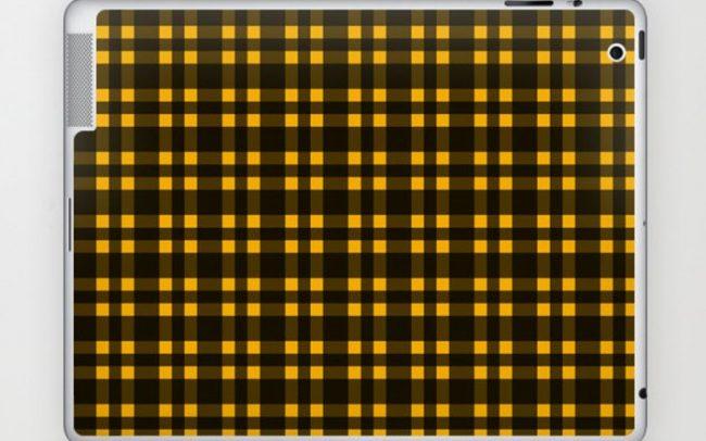 Black mustard plaid laptop skin