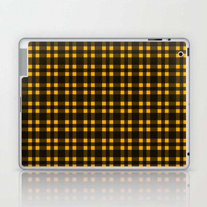 Black mustard plaid laptop skin