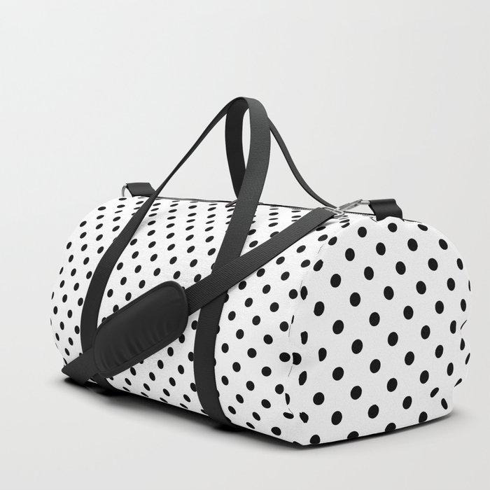 black white polkadots bag