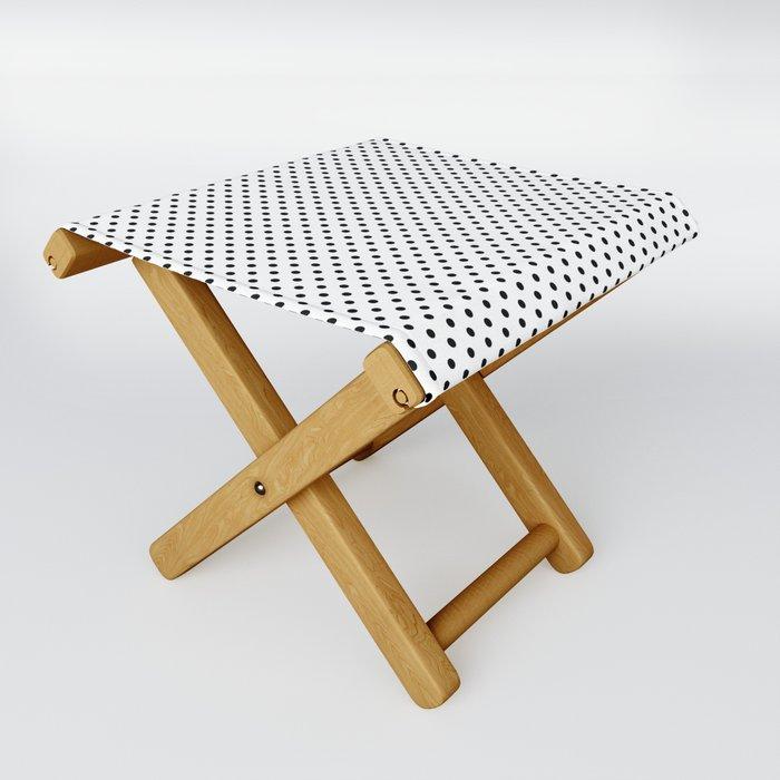 black white polkadots stool folding