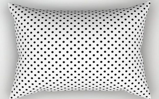 black white polkadots pillow