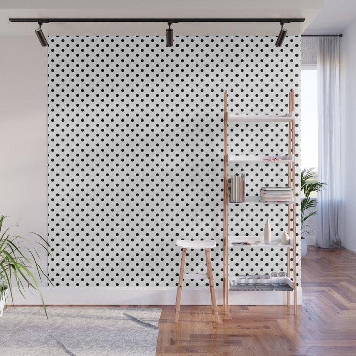 black white polkadots wall mural