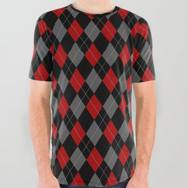 black grey red argyle