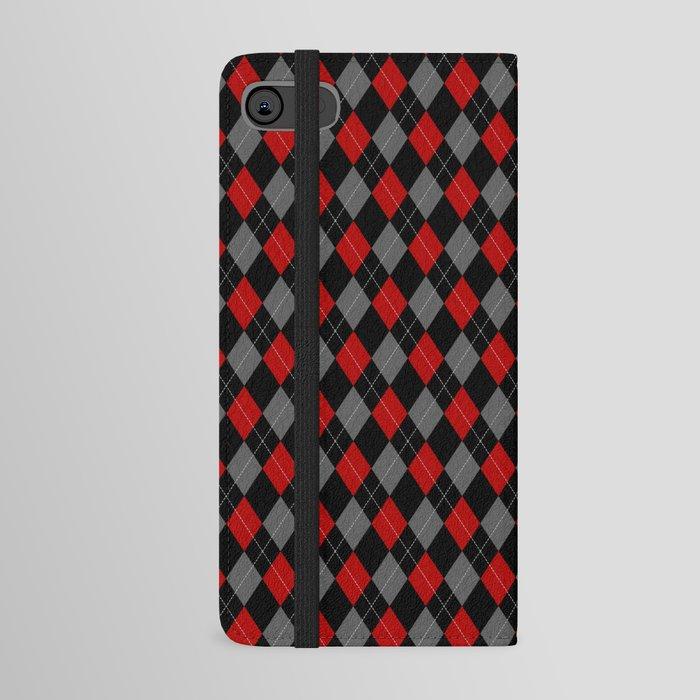 black grey red argyle