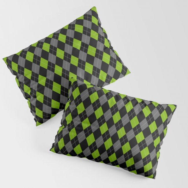 Green Grey Black Argyle Pattern