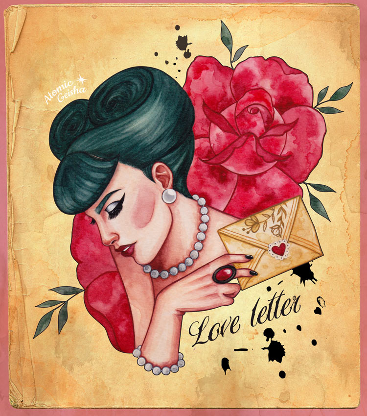 Artwork illustration love letter atomic geisha