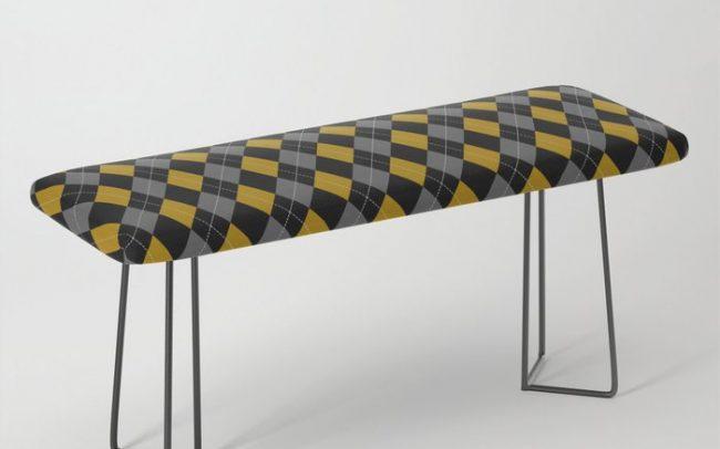 Gold grey black argyle pattern