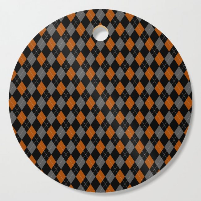 orange grey black argyle pattern